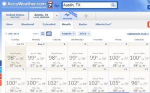 Temperature in Austin TX in August