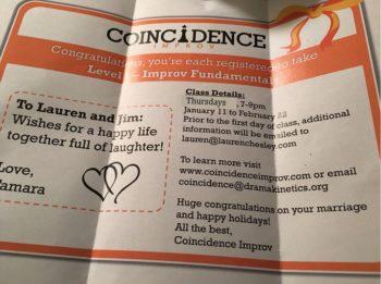Coincidence Improv Cincinnati GIft Certificate